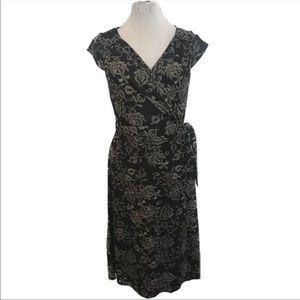 Ann Taylor Loft 8 Black cream print wrap dress B4